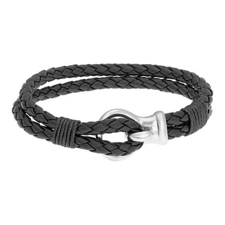 Hook and Loop Double Braided Leather Bracelet // Black