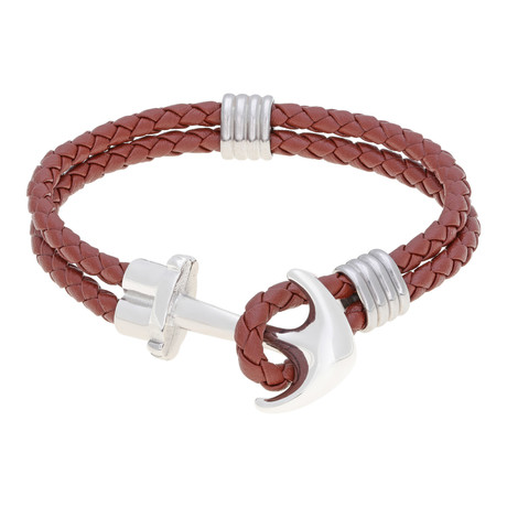 Anchor and Hoop Double Braided Leather Bracelet // Tan