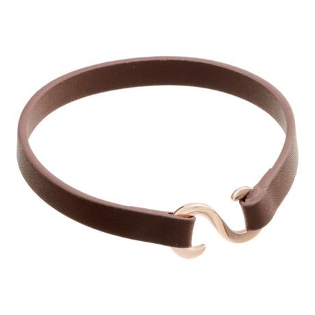 """Z"" Closure Leather Bracelet // Brown"