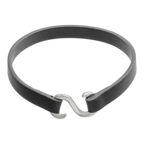"""Z"" Closure Leather Bracelet // Black"