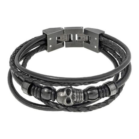 Multi Strand Skull Leather Bracelet // Black
