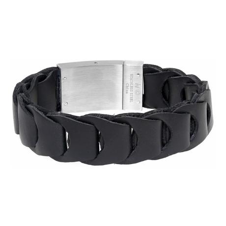 Buckle Hand-Braided Leather Bracelet // Black