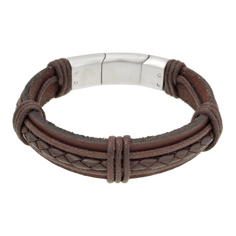 Snap In Lock Hand Braided Leather Bracelet // Brown