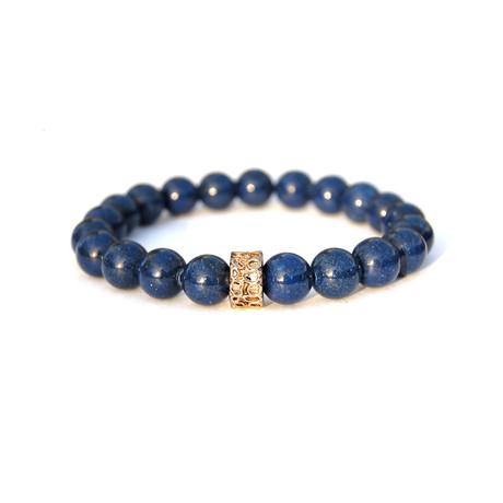 Gold Nugget Beaded Bracelet // Blue + Gold