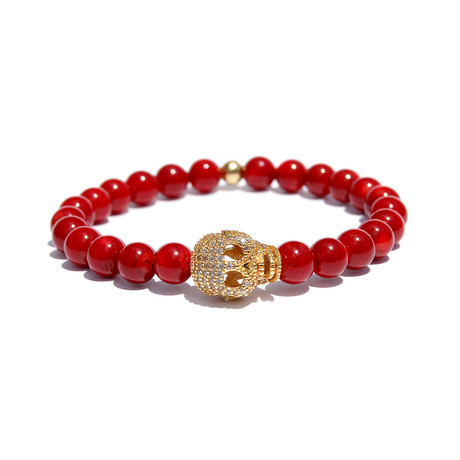 Red Eye Skull Bracelet // Red + Gold