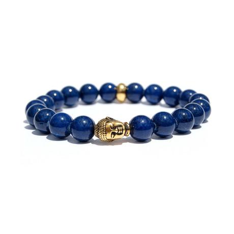 Sapphire Gold Buddha Bracelet // Blue + Gold