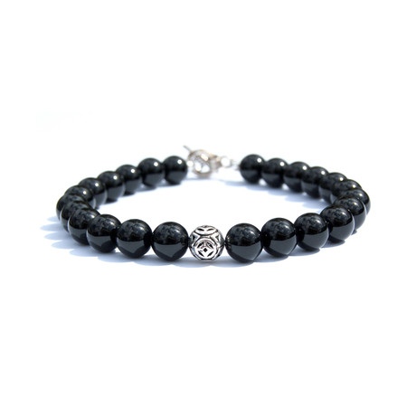 Sterling Silver Star Bracelet // Black + Silver