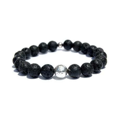 Sterling Silver Ball Bracelet // Black + Silver