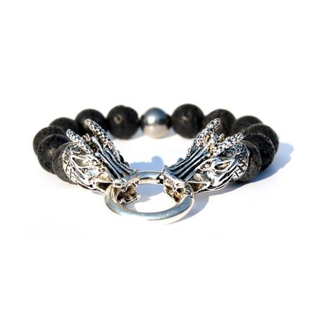 Dragon Beaded Bracelet // Black + Silver