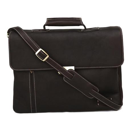 Turbo Leather Laptop Briefcase // Dark Brown