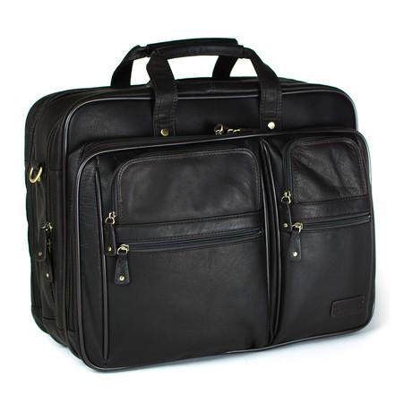 Armenia Laptop Overnight Briefcase // Dark Brown