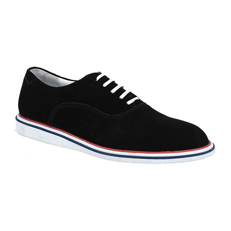 Suede Lace-Up Sneaker Oxford // Black