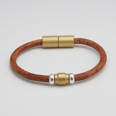 Single Barrel Bead Bracelet // Brass