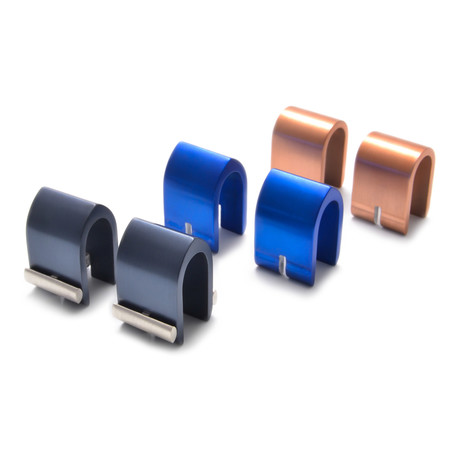 Actinium Cuff Link Set // Charcoal + Blue + Copper