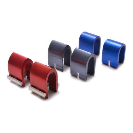 Berkelium Cuff Link Set // Red + Charcoal + Blue!