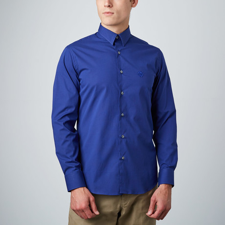 Embroidered Logo Dress Shirt // Dark Blue