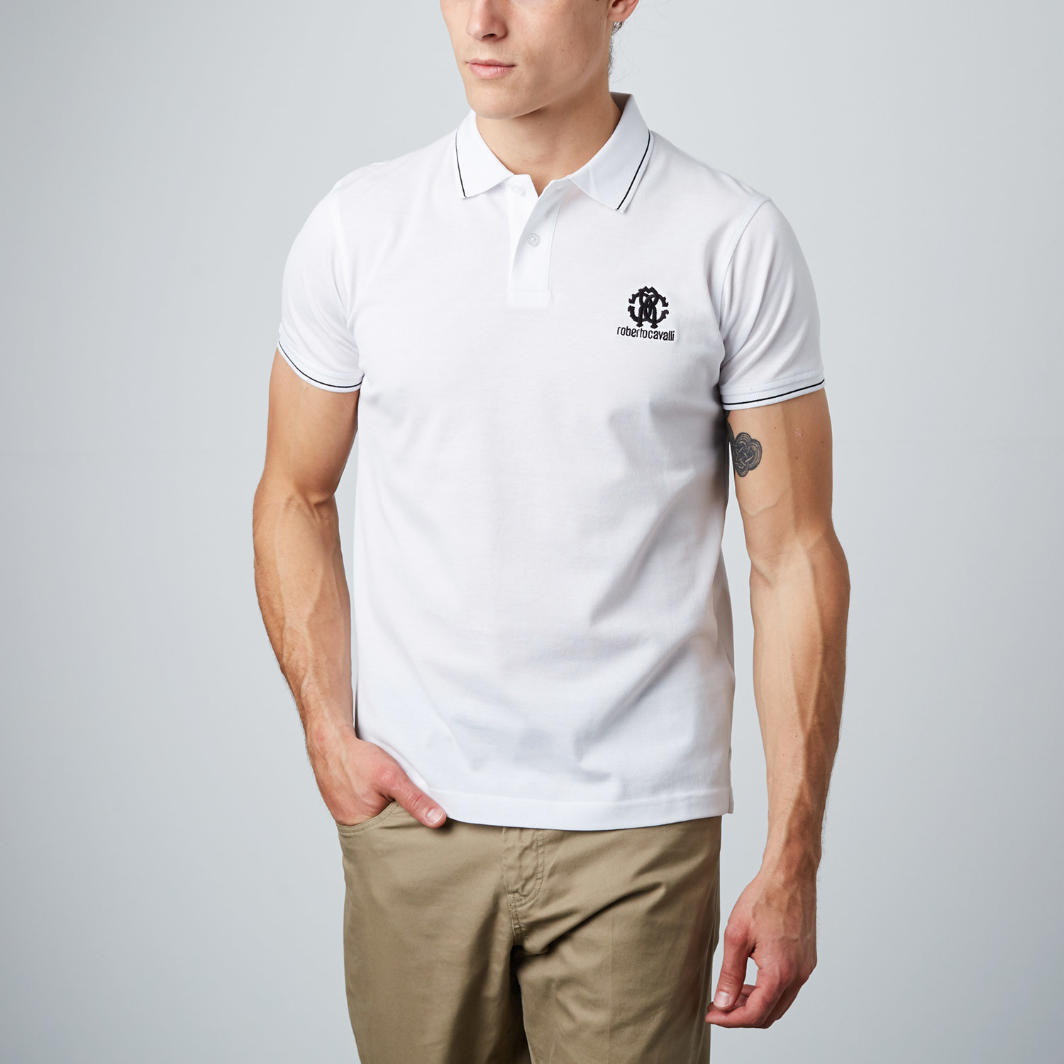 2041e1defc4c Contrast Stitched Embroidered Logo Polo // White (L) - Fashion ...