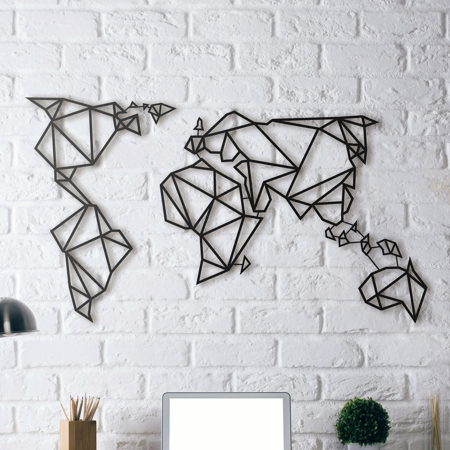 World map metal posters touch of modern - Decoration murale design metal ...