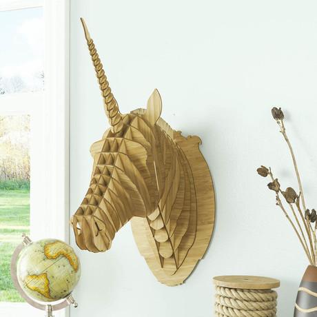 Merlin // Bamboo Wood Unicorn Head