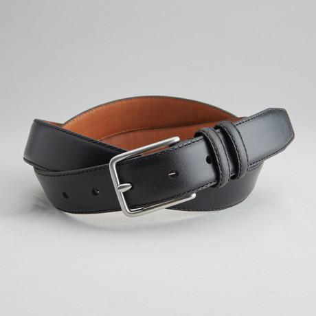 Greene Double Loop Italian Leather Dress Belt // Black