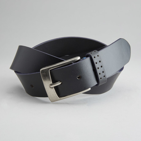 Jagger Casual Belt With Contrast Color Trim // Black + Blue