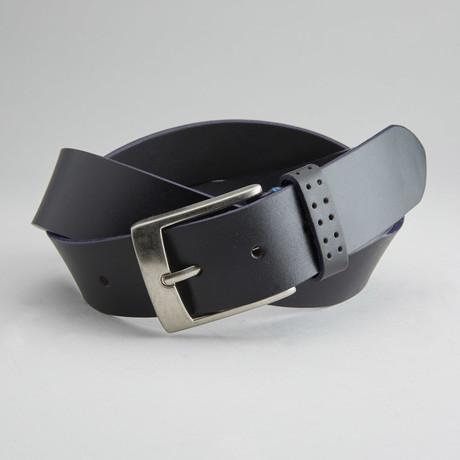 Jagger Genuine Leather Cut Edge Belt// Black (32)
