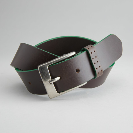 Jagger Casual Belt With Contrast Color Trim // Brown + Green