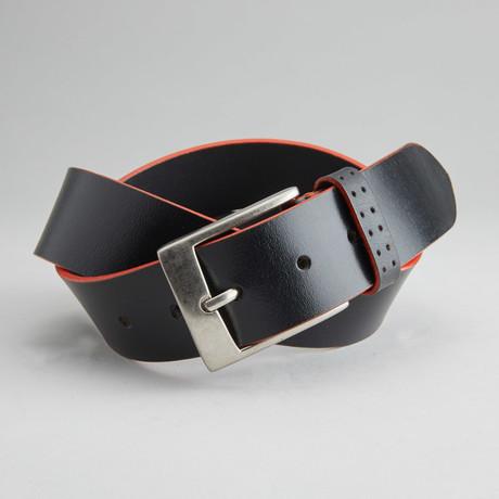 Jagger Casual Belt With Contrast Color Trim // Black + Orange