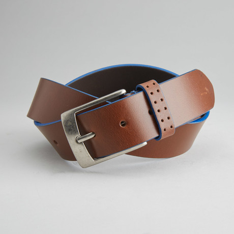Jagger Casual Belt With Contrast Color Trim // Tan + Blue