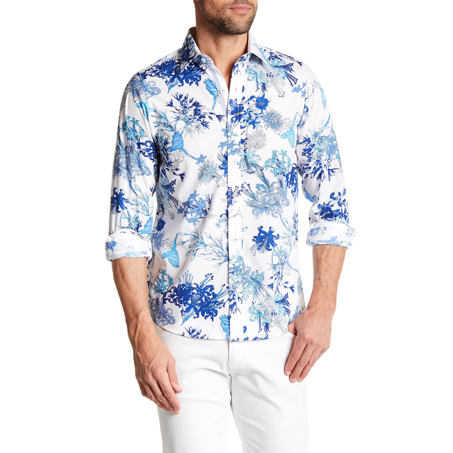 Ukiyo e floral button up shirt royal xs tr premium for Royals button up shirt