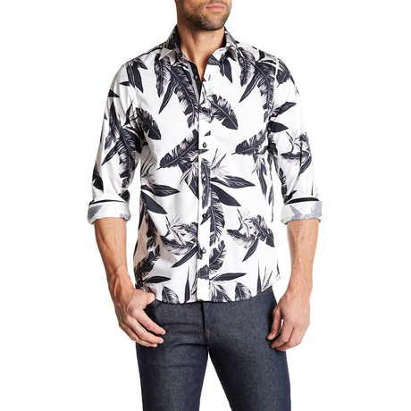 Feather Button-Up Shirt // White + Black