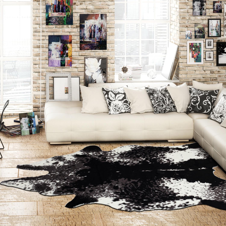 El Paso Cream + Black Faux Cowhide Rug - ECarpet Gallery - Touch of ...