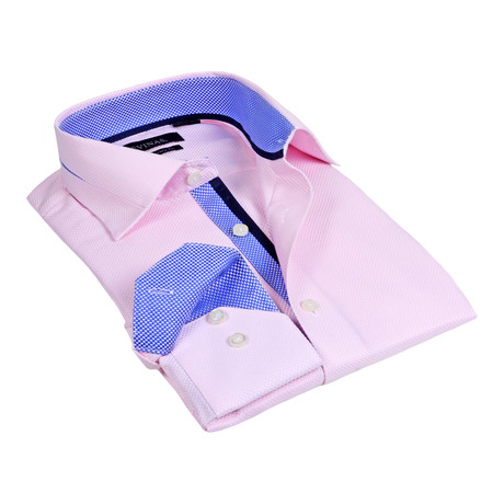 Contrast Collar Microdot Button-Up // Pink