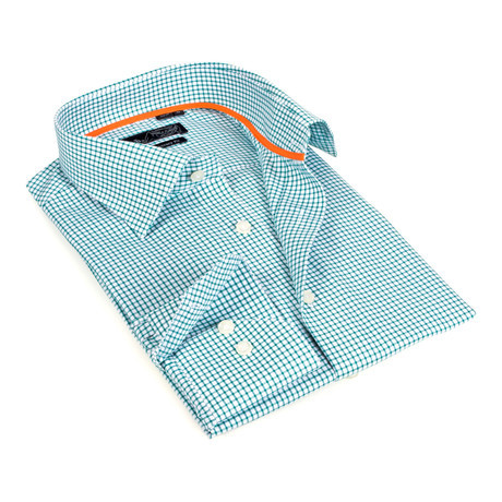Windowpane Button-Up // Green + White (S)