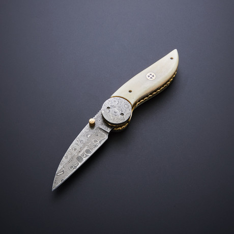 Damascus Folding Pocket Knife // Bone Sheepsfoot