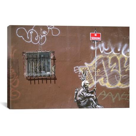 "No Tresspassing Indian // Banksy (18""W x 26""H x 0.75""D)"