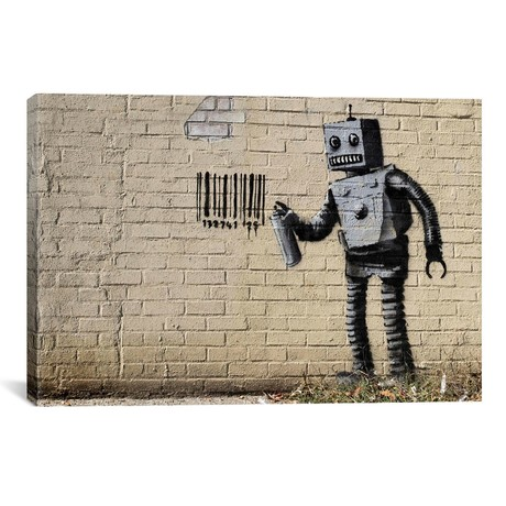 "Coney Island Barcode Robot // Banksy (40""W x 26""H x 0.75""D)"