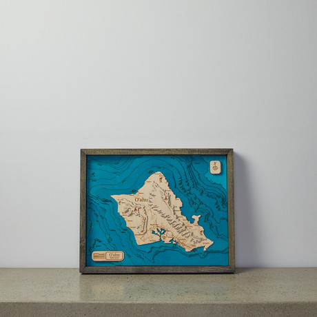 Geographical 3D Wood Map // Oahu
