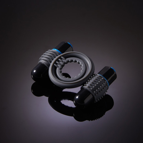 Vibrating C-Ring // Double + Mood Water Based Glide 4oz (Black)
