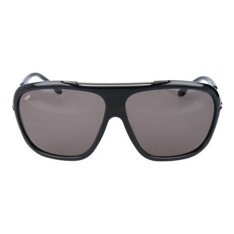 Embellished Bar Oversized Square Sunglasses // Black + Gunmetal