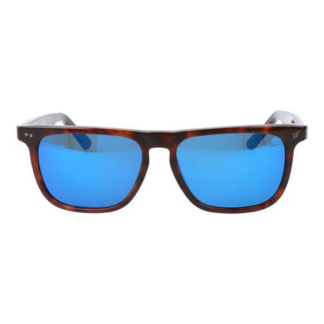 Straight Brow Rectangle Wayfarer // Brown Tortoise + Blue Mirror