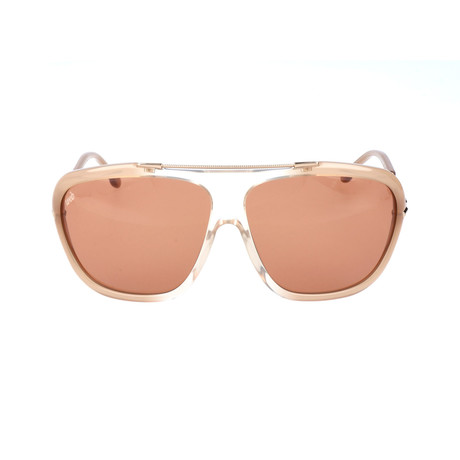 Embellished Bar Oversized Square Sunglasses // Tan + Clear + Rose Gold