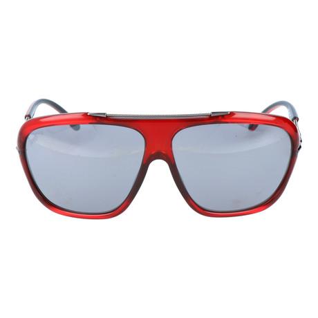 Embellished Bar Oversized Square Sunglasses // Red + Gunmetal