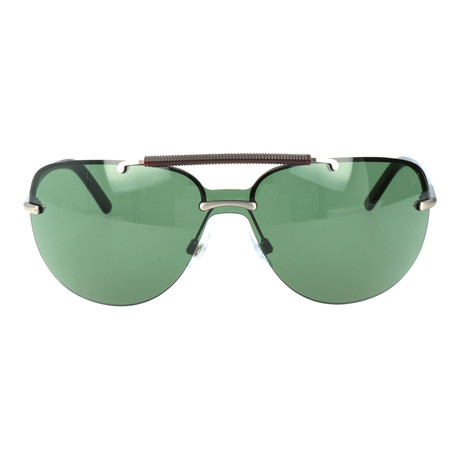 Embellished Bar Rounded Shield Sunglasses // Silver