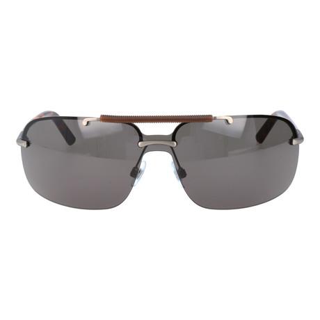 Embellished Bar Square Shield Sunglasses // Silver