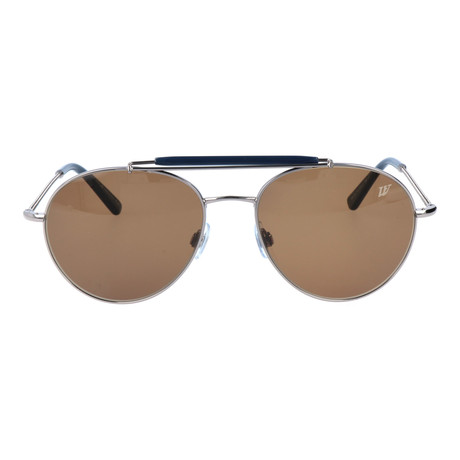 Double Bar Rounded Aviator // Silver + Black