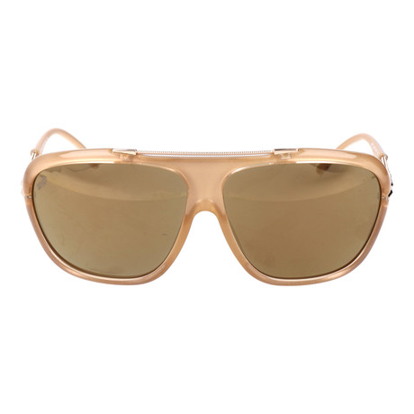 Embellished Bar Oversized Square Sunglasses // Tan + Rose Gold