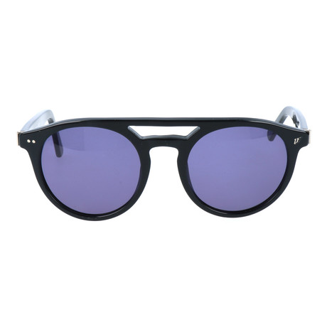 Double Bar Rounded Sunglasses // Black