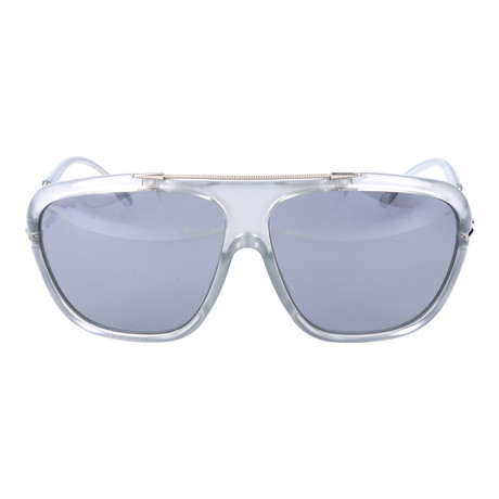 Embellished Bar Oversized Square Sunglasses // Clear + Silver