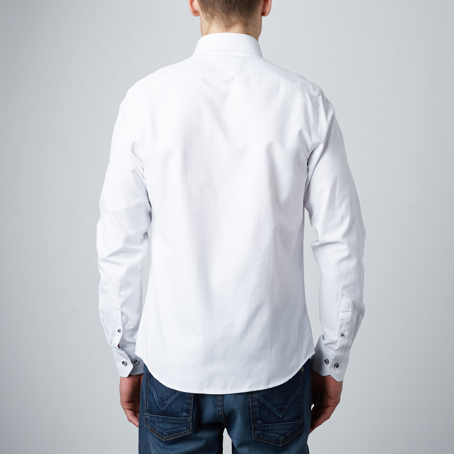 Scallop Texture Button Up Dress Shirt White S Rosso